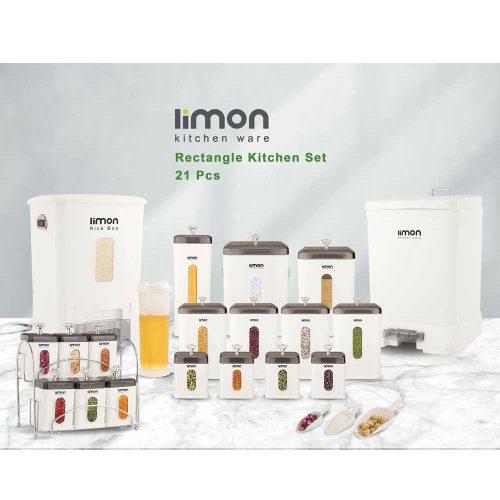 سرویس آشپزخانه 21 پارچه چهارگوش لیمون