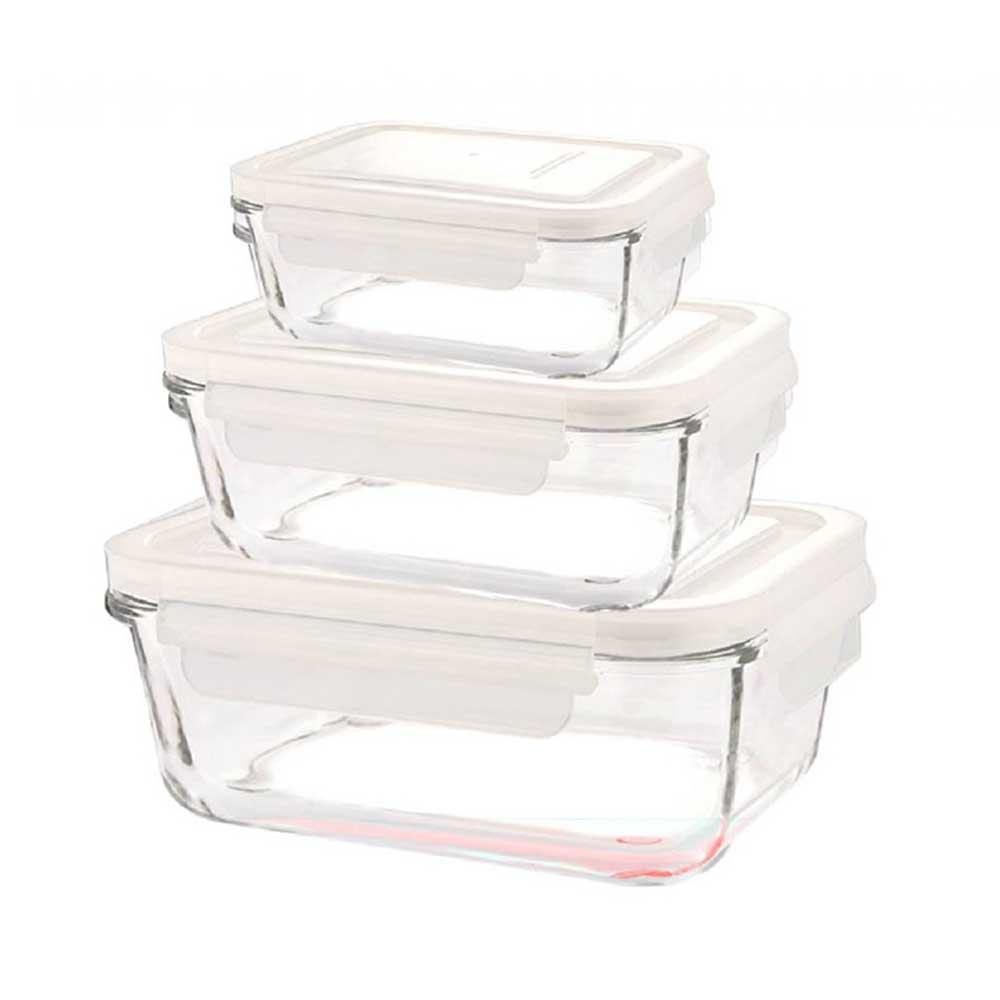 ست ظرف شیشه ای مستطیل لیمون 6 پارچه